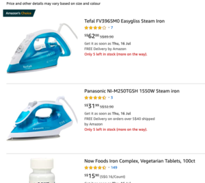 Popular product recommendation appearing at the top of the search list